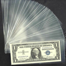100x Clear Case Paper Money Currency W/ Box Plastic Storage Pocket Sleeves Kit