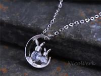 Silberkette mit Anhänger Hase Neumond Rund Zirkonia Glatt Glänzend Halskette