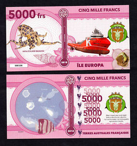 ★★ ILE EUROPA ● TAAF ● BILLET POLYMER 5000 FRANCS ★ COLONIE FRANCAISE