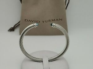 David Yurman 5mm Cable Classics Bracelet with Blue Topaz and Diamond size Large