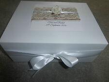 Large Wedding Keepsake Box Personalised Memory Box Ivory Rose  Burlap lace