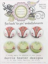 FOX & FROG Bee-ing Set FLAT BACK TIN PIN Embellishments Set Darcies DHD346 NEW