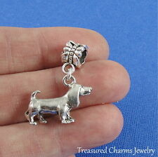 Silver BASSET HOUND Dangle Bead CHARM 3D Beagle Puppy Dog fits EUROPEAN Bracelet