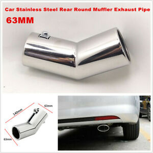 """1PCS 63MM 2.5"""" Car Silver Stainless Steel Rear Round Muffler Tail Exhaust Pipe"""