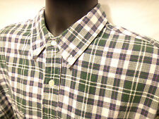 Eddie Bauer Men's Green & Blue Plaid S/S Button Front Sz L 100% Cotton