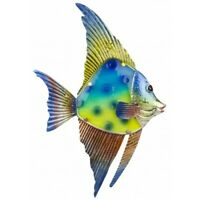 Hanging Wall Art Decoration Glass and Metal Reef Fish - Nautical Plaque Sign