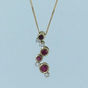 Ruby & Diamond 9ct Gold Pendant With 9ct Gold Curb Chain 1.6g RRP: £745