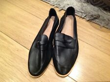 River Island Black Sian Leather Smart Loafer Shoes Brand New Size 7 40