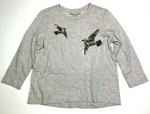 Ann taylor loft long sleeve beaded bird applique sweatshirt light grey medium