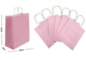 Pastel Pink Paper Gift Bags BB Twisted Handles Carrier / Party Loot Favour Bag