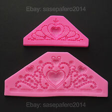2 Princess Tiara Crown Large & Medium silicone molds for fondant, clay 2 pcs.