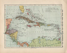 1924 Print ~ The West Indies & Caribbean ~ Jamaica Cuba Costa Rica Panama etc