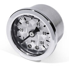 Oil Pressure Gauge Silver -100 PSI 6 Bar Motorcycle Car Performance