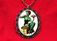 ZOMBIE PIN UP GIRL LINGERIE BRAINS NECKLACE ROCKABILLY