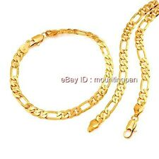 24k Yellow Gold Filled Mens Womens 6mm Wide Necklace Bracelet Set Figaro Chain
