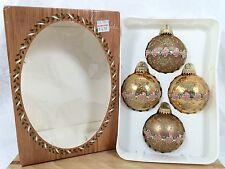 4 Vtg Krebs Glass Christmas Ornament Aztec Antique Gold Lace Dusty Rose Brocade