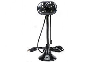 Webcam con microfono usb 2.0 videocamera 4 led asta flessibile telecamera pc