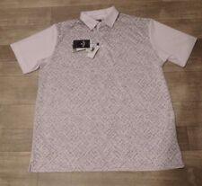 New Men's Callaway Opti-Dri White/Gray Golf Polo Shirt - Sz L - Rt $75