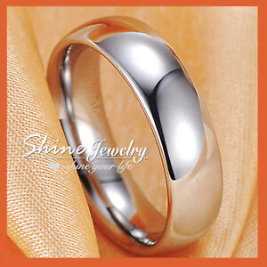 18K Plain White Gold GF Mens Women Silver Anniversary Wedding Comfort Band Ring