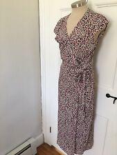 J. Crew Midi Wrap Dress Size Small Pink Leopard Euc
