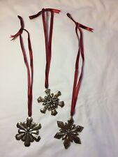 3 Gorham Silver Plate Snowflake Ornaments