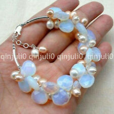 "Blue Fire Opal and Fresh Water Pearl Cluster Bracele 7.5"" J30365"
