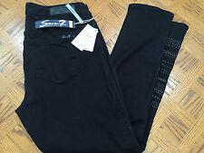 (NWT) Seven7 Women's Skinny Studded Jeans Black Raven Denim Size 24
