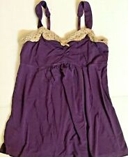 Soma Cool Nights Womens Purple Tan Lace Trim Sleep Cami Tank Top Runched XS or S