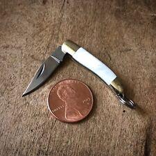 """SALE Mini Folding Pocket Knife Charm 1 1/2"""" Steel PEARL Handle Vintage Style"""