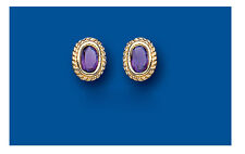 Amethyst Earrings 9k Gold Amethyst Studs Yellow Gold Amethyst Earrings