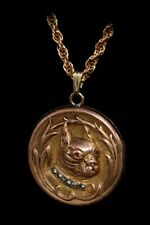 ANTIQUE Victorian FRENCH BULLDOG/ BOSTON TERRIER Large Jeweled LOCKET Necklace!