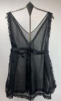 Vtg Sears Womens  Baby Doll Nightgown Sheer Chiffon Sash Split Sides Black Sz S