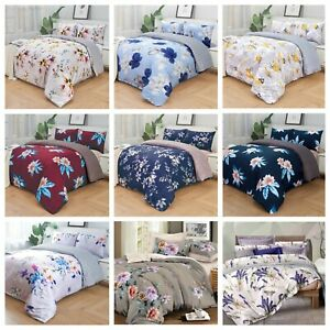 Luxury Floral Duvet Quilt Cover Bedding Set Pillowcase Fitted Sheet All Size