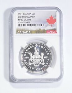 SP67 CAMEO 1971 Canada $1 Silver - British Columbia - Graded NGC *118