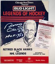 Rare 1986 Legends of Hockey vs Black Hawks Program Bobby Hull Signed - JSA