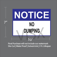 Notice No Dumping Sign Sticker Car Decor Vinyl Office Wall Trash Soliciting