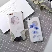 Simple Artist Flower Girls Pattern Phone Case Cover for iPhone 6 6S 7 8 Plus