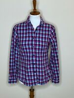 Columbia Small Plaid Button Down Long Sleeve Pink Blue White Top Shirt Women's