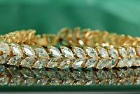 8Ct Marquise Cut D/VVS1 Diamond Tennis Bracelet In 14K Yellow Gold Finish