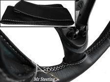 Per MERCEDES W210 00-03 Nero Pelle Italiana Copertura Del Volante Bianco Stitch