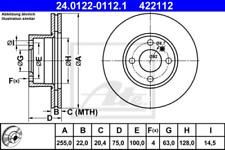 2x Bremsscheibe für Bremsanlage Vorderachse ATE 24.0122-0112.1