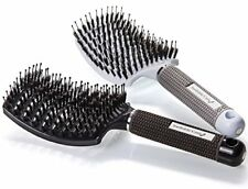 Detangling Boar Bristle Hair Brush for Blow Drying - Vented Curved and Oversize