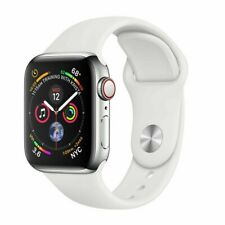 Apple Watch Series 4 44 mm Stainless Steel Case White Sport Band GPS + Cellular
