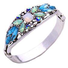 IRIDESCENT BLUE GREEN AURORA BOREALIS CRYSTAL RHINESTONE Chunky Silver Bracelet