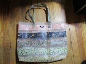ROXY Tote Bag Floral Stripes Large Waterproof Bag w/ 2 Handles Plastic EUC