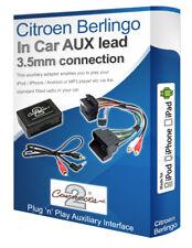 Citroen Berlingo AUX lead, iPod iPhone MP3 player, Citroen Auxiliary adaptor