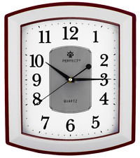 Rectangle Wall Clock PERFECT , Non-Ticking , Brown / Silver Case