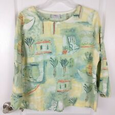 Hot Cotton Womens Linen Blend Long Sleeve Blouse Size L