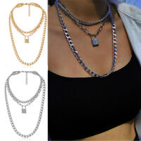 Men Stainless Steel  Chain Key Lock Pendant Punk Choker Collar Chain Necklace