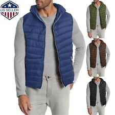 Mens Puffer Vest Quilted Hiking Parka Hood Lightweight Alternative Down Hoodie